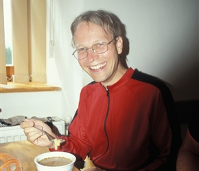 Emil with a tasty bowl of offal soup