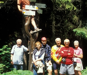 Robin, Neil, Margaret, Mike, Daffyd, John and Lyn on a walking route