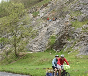 Andy and Christine Acklam climbing Burrington Coombe