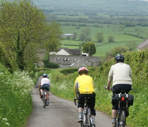 Adrian and Christopher descend towards Glastonbury Tor from Wells