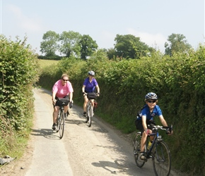 Anne, Nicola and Matthew through the lanes on the way to Montgomery