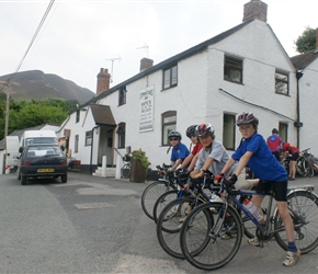 The under 10 peleton ready to leave at the Stiperstones Inn
