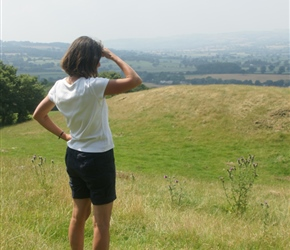 Jo admires the view at the picnic site at Poles Coppice between Minsterley and Pulversbatch