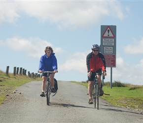 Adele and Dave crossing the Long Mynd