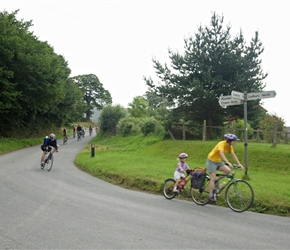 Clare and Morven round the bend at Eyton