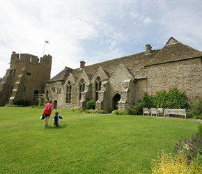 Sarah and James enter Stokesay Castle