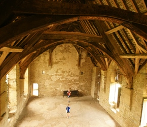Sarah and James inside the great hall at Stokesay Castle