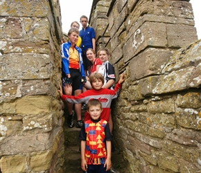 Sam, Ieuan, Jonathan, Sarah, Jenny, Christopher and Finlay on the tower at Stokesay Castle