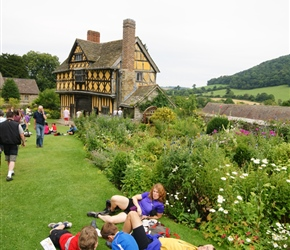 The Turnpenny family relax at Stokesay Castle