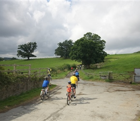 James, Finlay and Roddy start the climb to Choulton