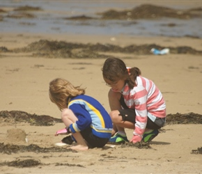 Abbie and Lucy digging on Pirou Plage