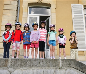 Emma, Louise, Ariane, Kate, Lucy, Alice, Abbie and Oliver outside the chateau