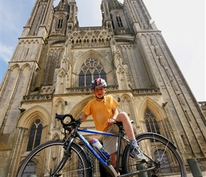 Edward in front of Coutances Cathedral