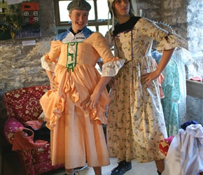 Jonathan and dan, never shy to dress up demonstrate their talents at cafe (Mill on the Fleet) in Gatehouse of Fleet