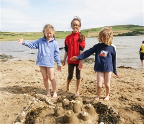 An impressive sandcastle at Brighouse Bay, courtesy of Louise, Lucy and Catherine