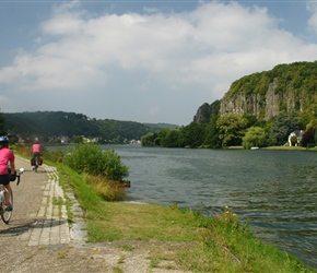 Sarah on the Cyclepath along the River Meuse heading for Namur