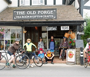 Christopher, Lucy, Matthew, Louise and Bill at the Old Forge Cafe at Weobley