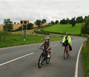Louise and Sarah on the road to Ludlow