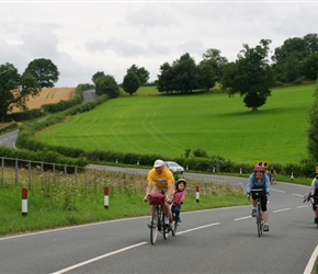 Douglas steams up the hill powered by Catherine on the road to Ludlow