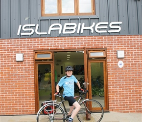 James and his new bike, direct from Islabikes and presented by Isla herself