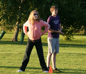Nicola and Sam at second base at the annual rounders game