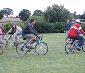 So the adults joined in the death race but chose the children bikes