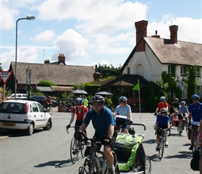 Paul Hart leads the departure from the cafe at Eardisley