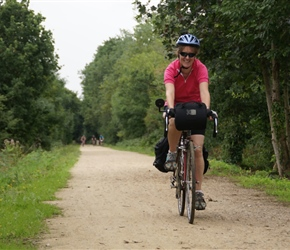 Sarah on Cycleway from Bricquebec