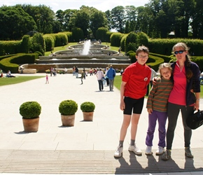 James, Louise and Sarah by the fountains at Alnwick Gardens