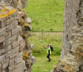 Roddy through the walls of Dunstanburgh Castle
