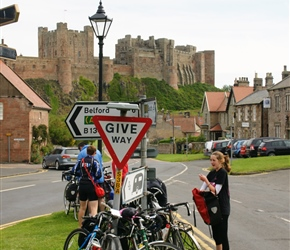 Flora with the locked bikes at Bamburgh