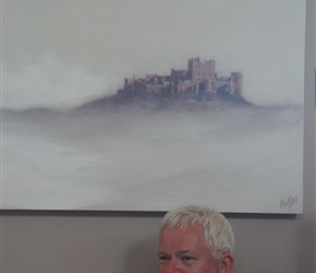 Malcolm in the tearoom at Bamburgh Castle