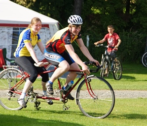 Jonathan and Sarah Mitchell try out our Longstaff tandem at the campsite
