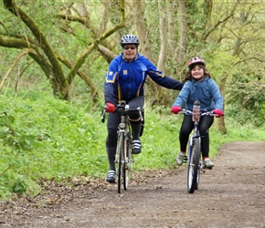 Steve helps Emma along on cycle route 45 through Stroud