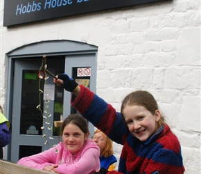 Louise and her daisy chain at Hobbs House Bakery