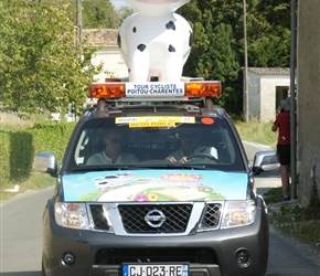 We tripped over a professional race coming through. Here the Charente Maritine Cow signals its arrival