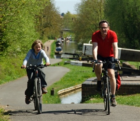 Fabian and Giles along the Stratford Canal heading towards Wilmcote