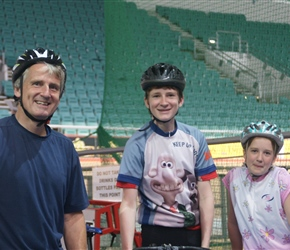 Neil, James and Louise ready to take on the Velodrome