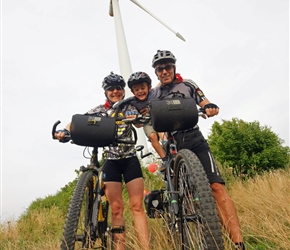 carrie, Hary and Gary Hill under the windmill