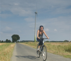 Katie passes windmill at Banzau