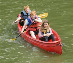 Oliver, Penny and Gabriella try out the Kayaks at Chevetogne