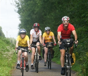 Jacob, Karen, Siobhan and Robin on the Ciney to Huy cyclepath