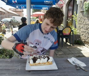 James decorates his well deserved waffle at Hanois