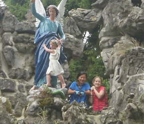 Louise and Kate visit the grotto in Spontin