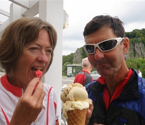 Robin and Karen at the ice cream shop