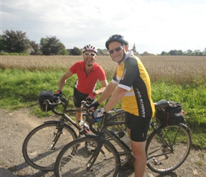 Three of us cycled back from Namur. Robin and Lester came along