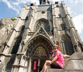 Sarah under Dinant Cathedral