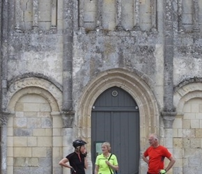 Jane, Caroline and Eric outside Montils church, Cognac