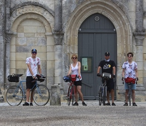 The Turnpenny family outside Montils church,  Cognac