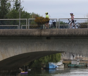 Crossing Charente River in Jarnac